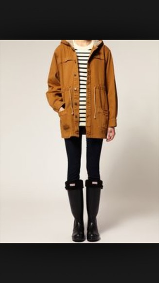 stripes fall sweater fall outfits jacket rainy tan coat tan jacket tan sweater hipster grunge winter jacket tan/black coat halloween gucci polo warm coats warm winter coat fun winter coat mustard hunter boots