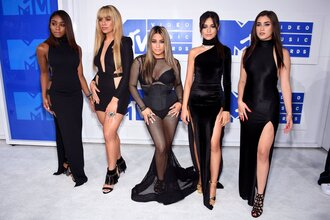dress vma fifth harmony celebrity maxi dress long dress double slit dress slit dress mesh mesh dress mini dress little black dress black dress cut-out dress one shoulder v neck v neck dress plunge v neck sandals sandal heels high heel sandals black sandals caged sandals ally brooke normani kordei hamilton dinah jane hansen camila cabello lauren jauregui