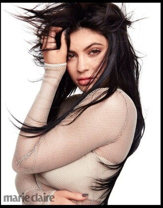 shirt kylie jenner kardashians mesh fishnet shirt nude nude shirt boob tube marie clair celebrity similar items long sleeves bra pretty see through 2016 2016 look magazine photo magazine new cool winter outfits nice