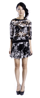 top,lace,lace top,floral,floral shirt,lace skirt,lace skater skirt,black and white,black,white,rochelle carino,monochrome,floral skirt,skirt