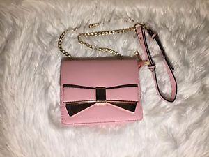 New Women Lady Pink Crossbody Bow Ribbon Bag Small Purse Handbag Shoulder Bag