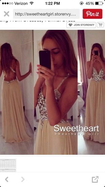 dress champagne long prom jewels pretty nude prom dress dress
