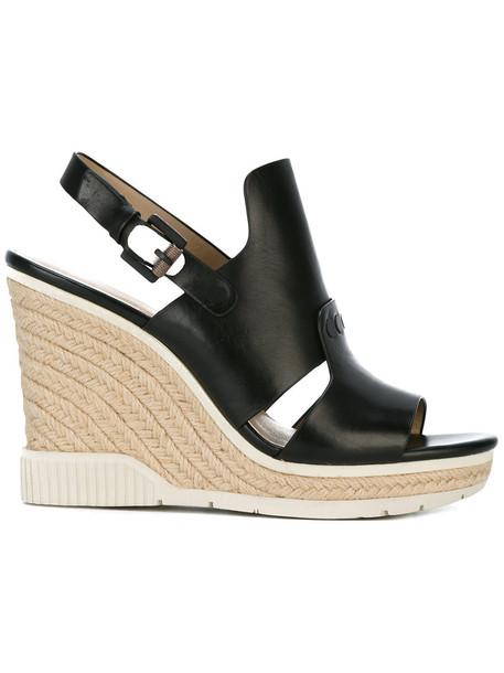 Ck Jeans women sandals wedge sandals leather black shoes