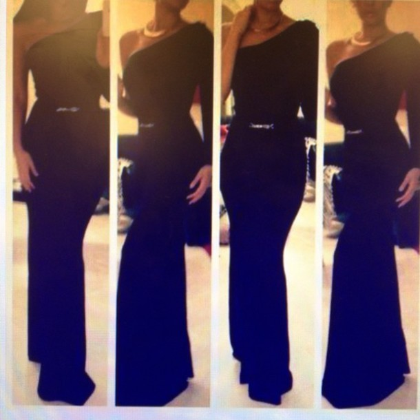 dress long dress one sleeve elegant prom party dress