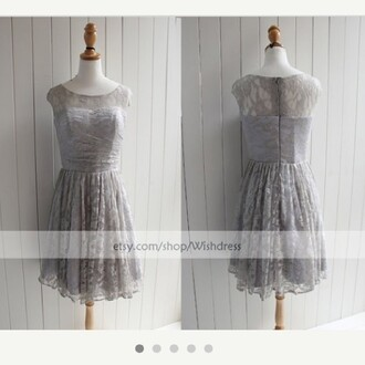 silver dress silver lace dress lace prom dress lace bridesmaid dress lace cocktail dress celebrity style