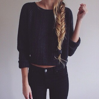 navy lines cropped sweater cable knit