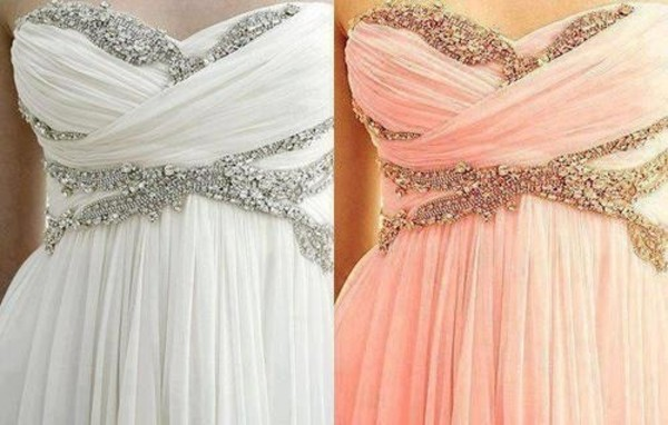 dress prom dress maxi dress beaded chiffon strapless dress strapless sweetheart neckline baby pink coral dress coral white dress white sequins pattern bag