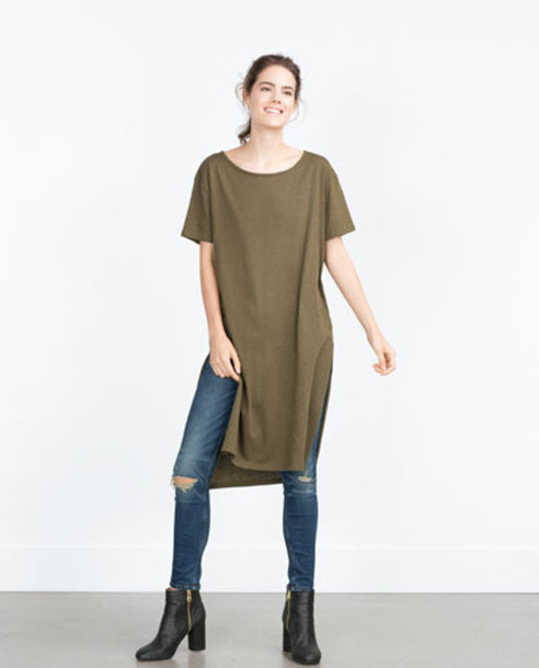 Shirt zara dress khaki t shirt wheretoget for Zara black t shirt dress