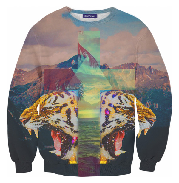 blouse cross cross sweater jacket tiger print tiger mountain swag yolo hoodie sweatshirt