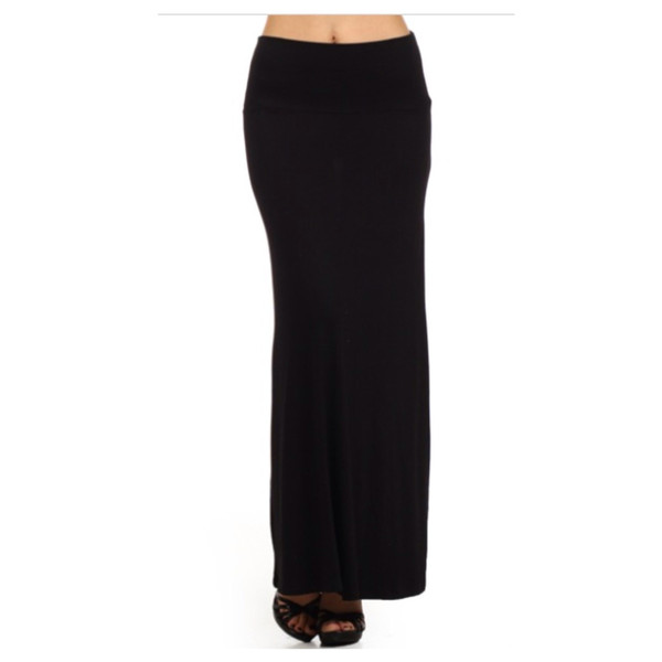 in style solid black maxi skirt