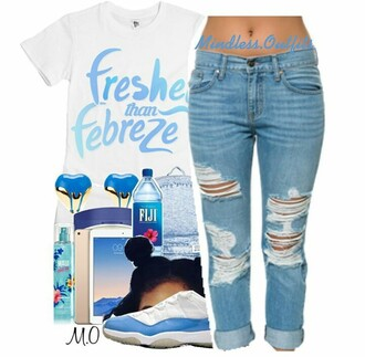shirt blue light blue jeans light blue cute dope gold white heart earrings fiji water fiji blue denim backpack blue jordan 5's cute hair destroyed skinny jeans