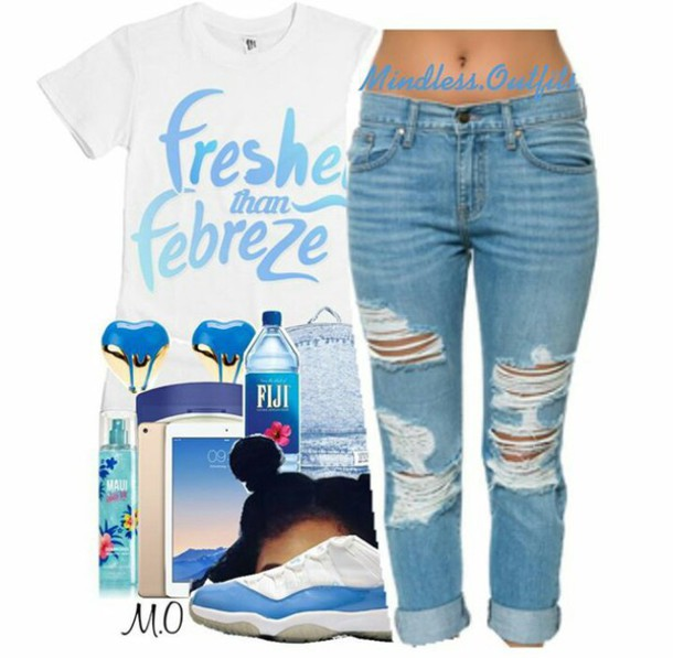 4238801a0df shirt blue light blue jeans light blue cute dope gold white heart earrings  fiji water fiji
