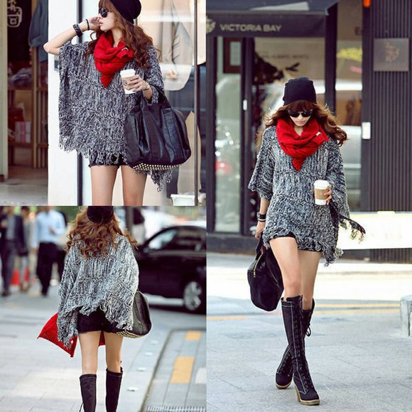 cape jacket fashion sweater clothes i4out clothing lookbook look cardigan scarf streetstyle swag boots bag knit shoes