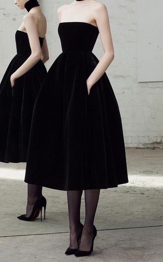 dress strapless black dress prom dress black midi dress maxi dress