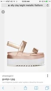 shoes,light metallic,flatforms,sandals,rose gold