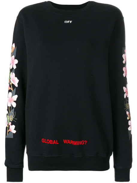 Off-White sweatshirt cherry women spandex cotton black sweater