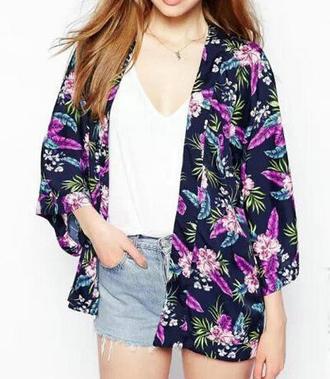 purple cardigan kimono floral open front