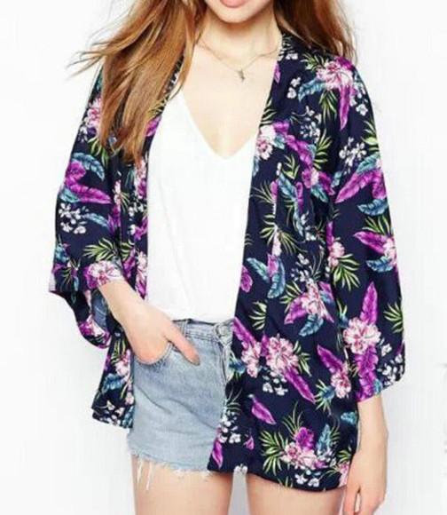 cardigan open front kimono floral purple