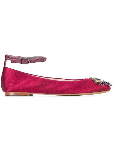 Sam Edelman women embellished leather purple pink satin shoes