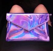 bag,clutch,metallic clutch,purple,holographic,holo,metallic,pink,blue,envelope,holographic bag,lilac purple