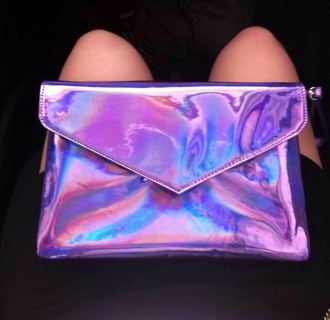 bag clutch metallic clutch purple holographic holo metallic pink blue envelope holographic bag lilac purple