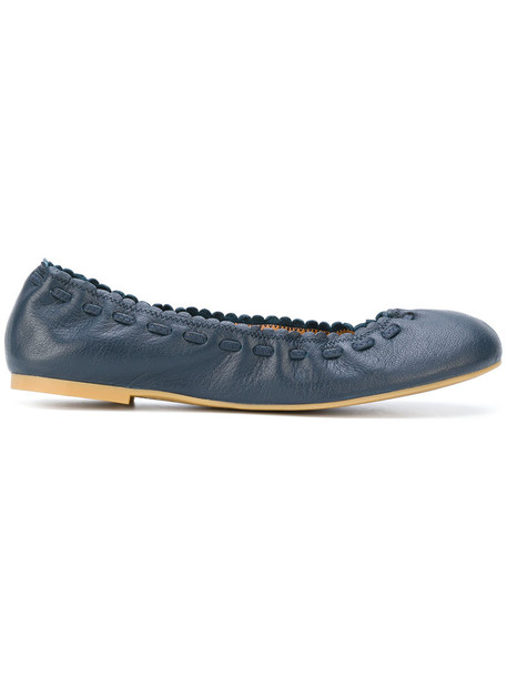 See by Chloe women leather blue shoes