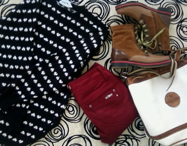 sweater wanted combat boots winter sweater maroon pants school bag urban outfitters bag
