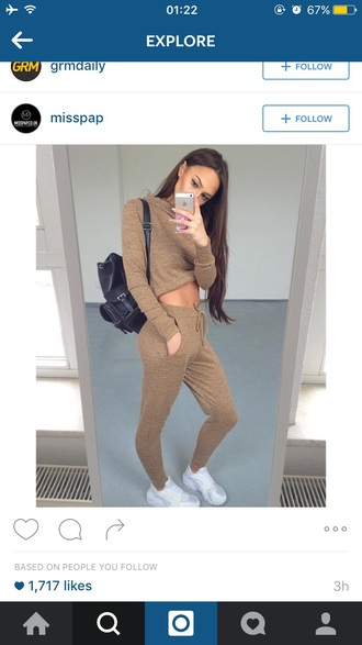 sweater tracksuit joggers crop tops crop beige outfit