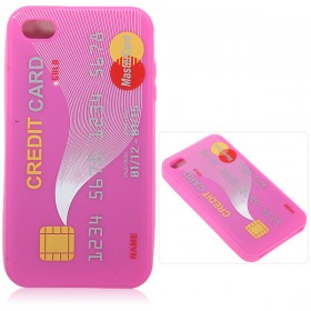 Hot Sale Unique Credit Card Pattern Silicone Soft Case for iPhone 4G 4S - Dark Pink- wholesale store online - IAMinthestore.com