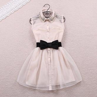 dress white black belt lace tulle skirt vintage