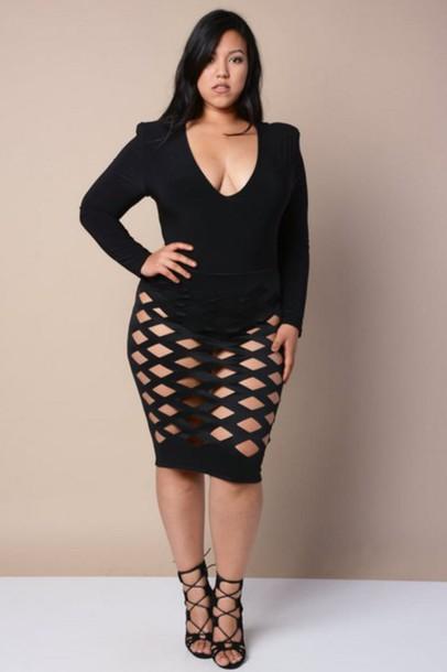 Dress Plus Size Plus Size Dress Clubwear Black Dress Bodycon