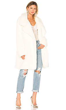 Norma Kamali Faux Fur Coat in Off White from Revolve.com