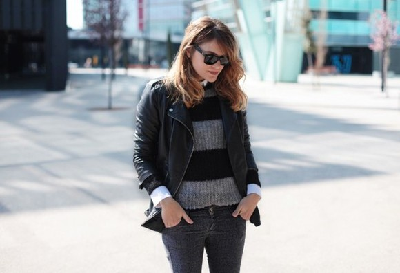 my daily style jacket bag shoes sweater jeans