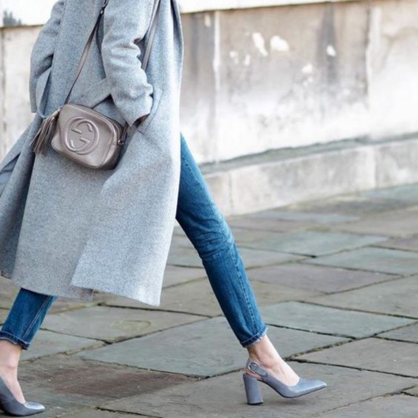 shoes slingbacks slingback heels cropped jeans grey wool coat gucci bag  block heels wool coat crossbody