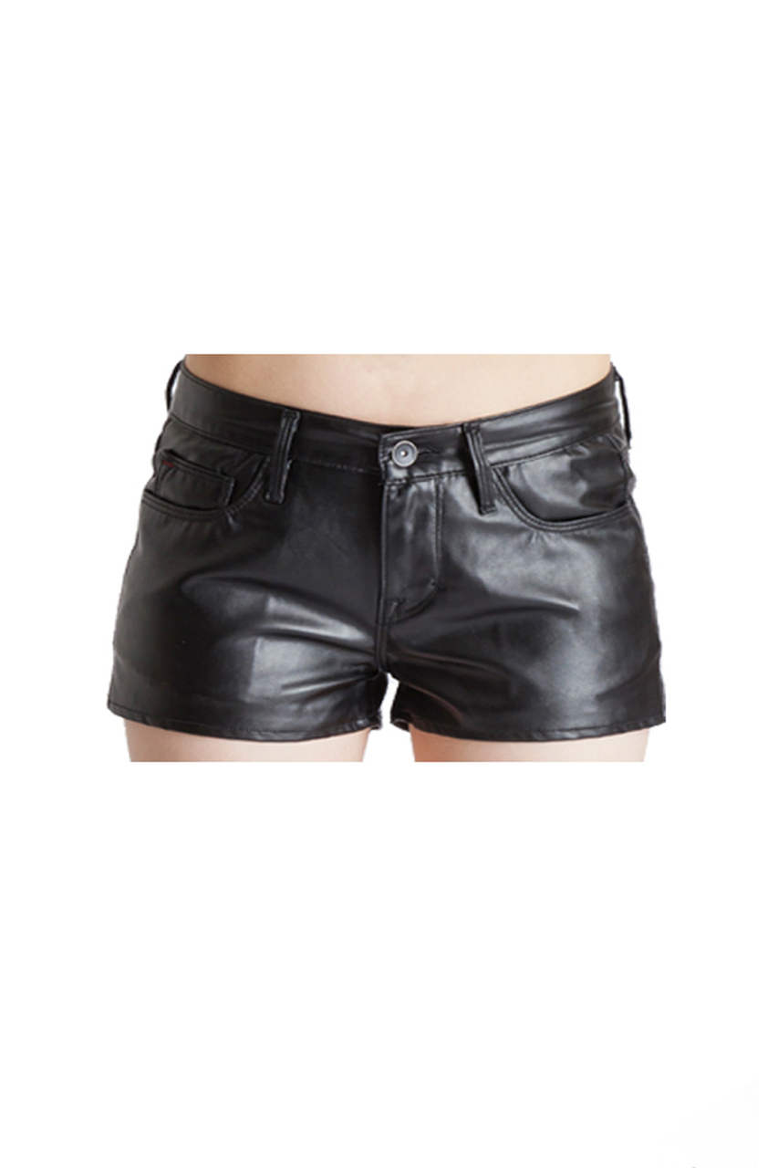 Tantra Short in Black Faux Leather