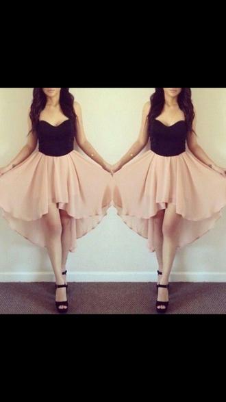 silver high heels peach and black