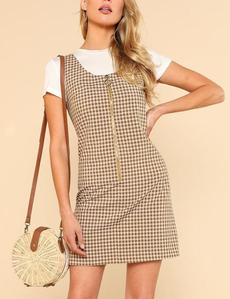dress girly plaid plaid dress zip zip-up cute