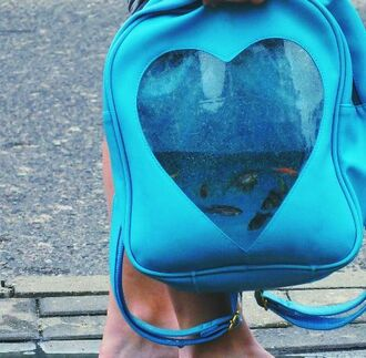 bag transparent fish heart transparent backpack transparent heart backpack tumblr cool cool stuff blue navy pastel blue love pretty cute kawaii transparent  bag backpack korean fashion korean style