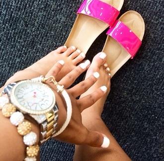 shoes flat sandals sandals pink