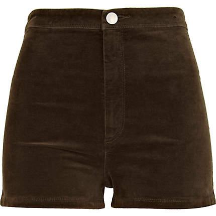 Khaki corduroy high waisted shorts - shorts - sale - women