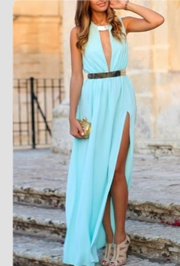 dress light blue slit maxi plunge neckline neckline blue dress gold maxi dress v neck dress turquoise long dress grecian dress gold belt dress side slit dresses long slit dress baby blue thigh slit