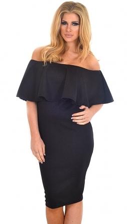 Nazia Black Off The Shoulder Frill Midi Dress  529147355