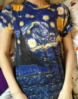 t-shirt tumblr grunge art cool stars painting starry night starry night van gogh van gogh print blue shirt