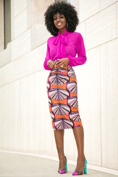 blogger,pink blouse,african print,pencil skirt,colorful,platform heels,black girls killin it