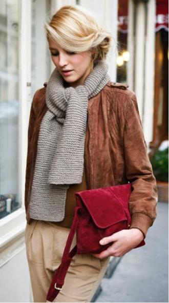 bag red dark red crossbody bag blonde hair knitted scarf grey scarf brown jacket