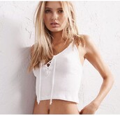 shirt,white,crop tops,tank top,top,girly,girl,girly wishlist,crop,cropped,white top,white crop tops,lace up top
