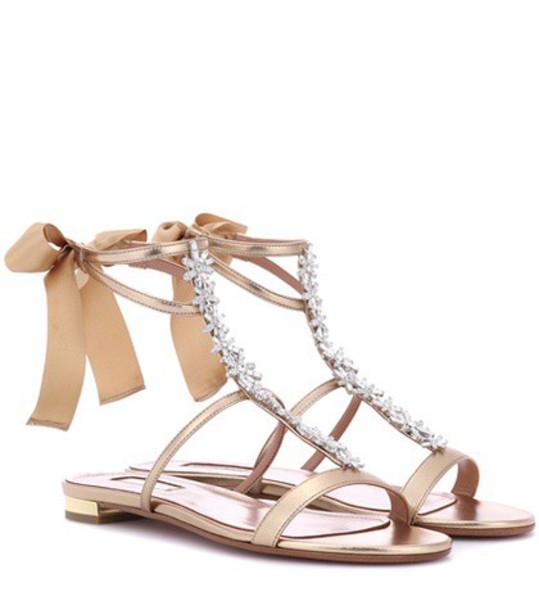 Aquazzura leather gold shoes