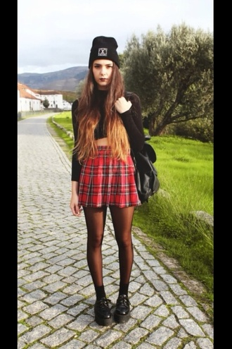 skirt plaid skirt shirt shoes underwear hat