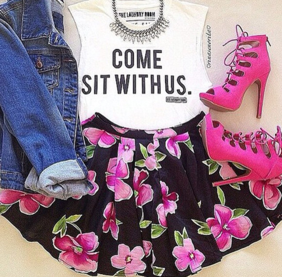 t-shirt words on shirt denim jacket pink high heels flower skater skirt floral blouse