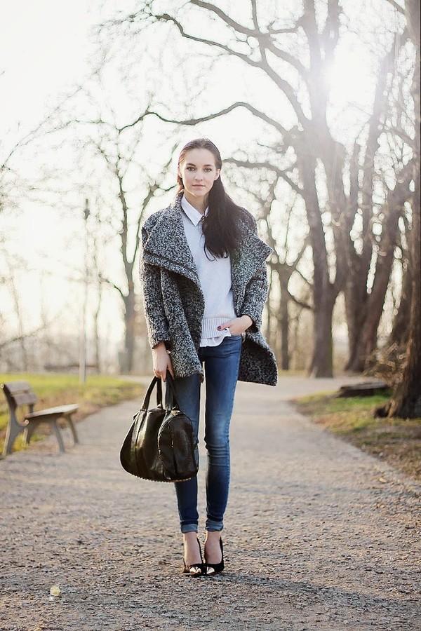 leona meliskova coat sweater jeans shoes bag